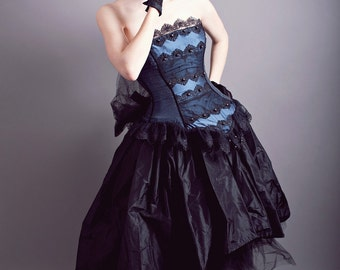 Masquerade Gown Steampunk Wedding Midnight Blue Silk and Black Lace-Custom to your size