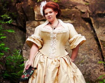 Victorian Wedding Dress - Steampunk Corset - Corseted Jacket Bridal Gown Silk - Custom to Order Petite to Plussize