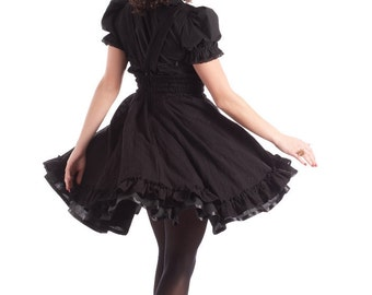 Gothic Lolita Dress - Black Cotton Jumper  - Underbust Suspender Skirt -Custom to your size