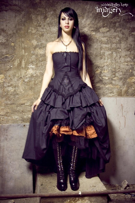 RESERVED Steampunk Vampire Gothic Lolita Black Cotton Wedding Dress-Custom to your Size