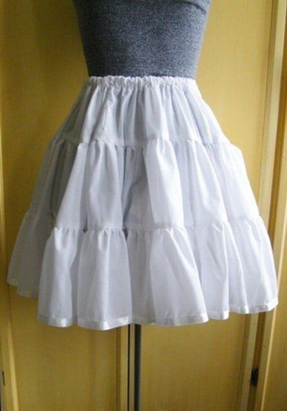 Plus Size White Cotton Petticoat Lolita Teired Skirt