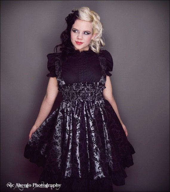 plus size steampunk jumper dress silver and black by