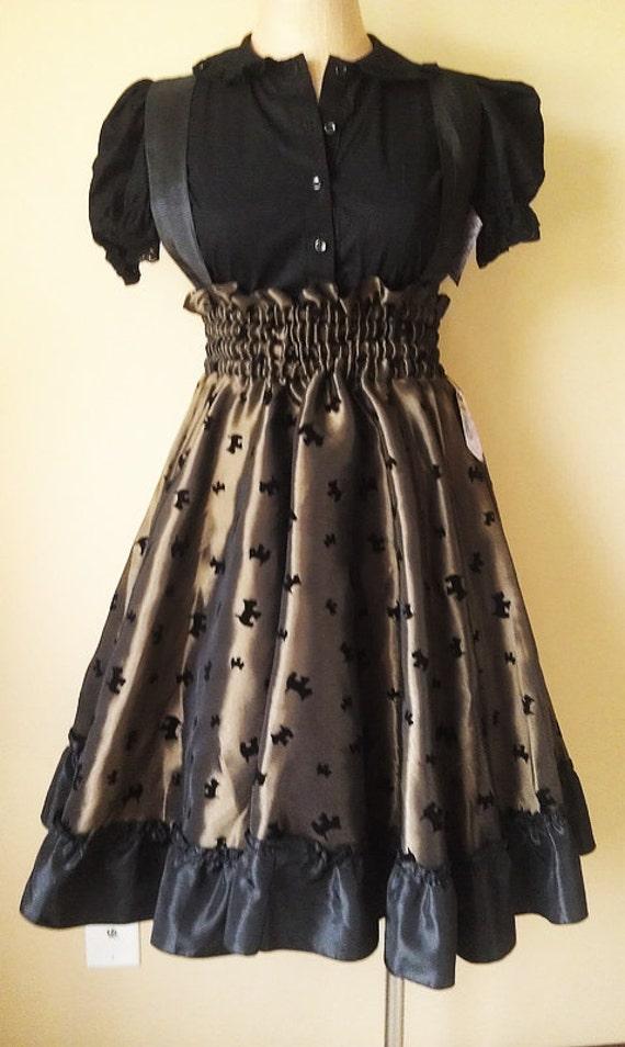Lolita Retro Jumper Dress Scotti Dog Print -Ready to Ship Medium