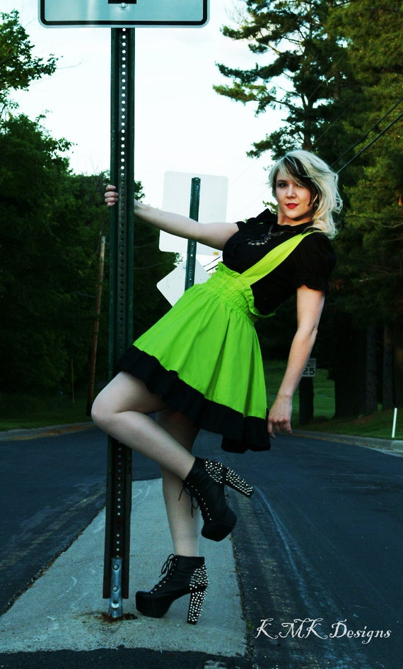 Punk Lime Green Dress Gothic Jumper Cyberpunk-READY TO SHIP Large