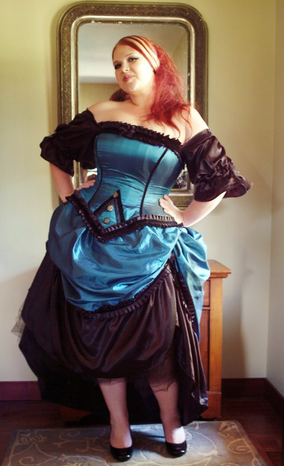 Reserved Steampunk Gown Corseted Top and Bustle Skirt in Teal- READY to Ship Large