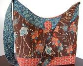 Handbag - many pockets - Brown, Blue and Brick Red Floral Fabric