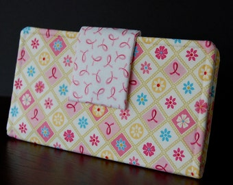 Ladies Pink Ribbon Fabric Wallet - Support Breast Cancer Research