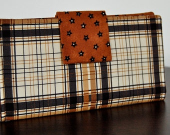 Fabric Wallet  Brown, Black Plaid for credit cards, checkbook and change