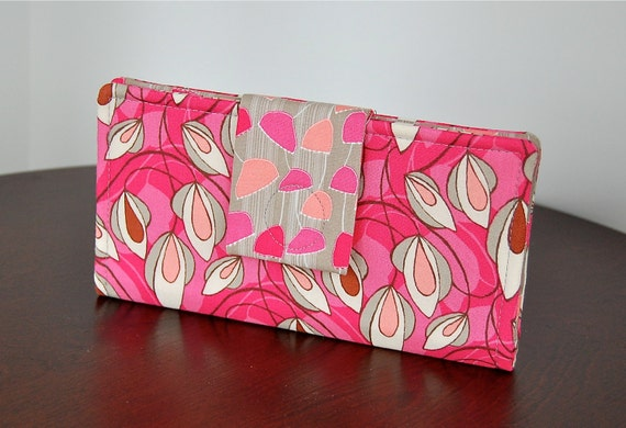 Fabric Wallet - Charming Floral Print in Pinks and Grey -