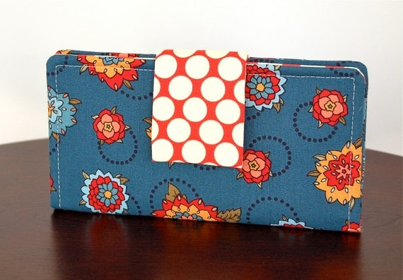 Women's Wallet - Fabric Prints in Blue, Red and Yellow - Polka Dots