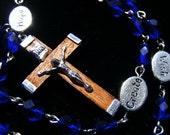 Handmade Anglican Prayer Beads Rosary Matte Sapphire Word Beads Wood Cross
