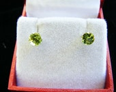 Clearance  Peridot 5mm Round Brilliant Cut Stud Earrings Sterling Silver