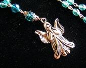 Handmade Beaded Anglican Rosary Prayer Beads Silvertone Teal Angel