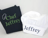 Boy's Personalized apron navy with chef hat - Embroidered Monogrammed