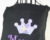 Ladies Purple Crown Applique Personalized Apron - with Ribbon and Pockets - Embroidered Monogrammed
