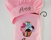 Girl's Personalized Rainbow Treat Cupcake Apron with Pink Chef Hat Set