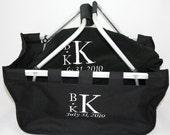Personalized Wedding Gift Set market tote & fleece blanket with Couples Monogram Wedding Date