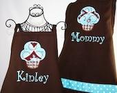 Matching Mother Daughter Personalized Sweet Aqua Cupcake Apron Set