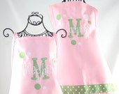 Personalized apron Mommy & Me Matching Pink Green Apron Set with Polka Dots Ribbon and Layered Name