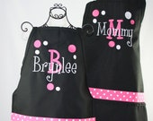 Personalized Mother & Daughter Apron Matching Black Pink Apron Set with Polka and Layered Name