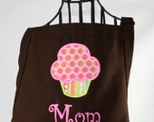 Mothers Day Personalized Gift Apron cupcake in Pink Lime & Brown with Polka Dot Ribbon - Embroidered Monogrammed
