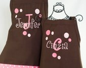 Personalized aprons Mommy & 2 Daughters Matching 3 Apron Set in Brown Pink Polka Dots and Layered Name