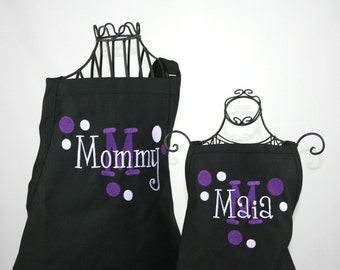 Personalized Mommy & Me Apron Set in Black with Purple Polka Dots and Layered Name
