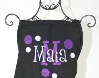 Girls Purple Polka Dot Black Apron Personalized with Name & Initial Polka Dots
