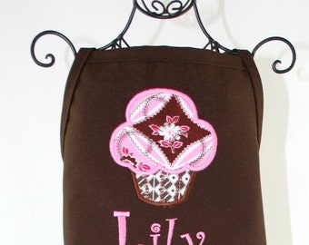 Personalized Girl's Sweet Pink Cupcake Apron
