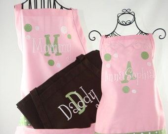Personalized Apron Mom Dad & Daughter Apron Set - Monogrammed Embroidered