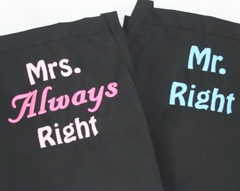 Mr Right Mrs Right matching Bride & Groom Wedding apron Set - Embroidered Monogrammed