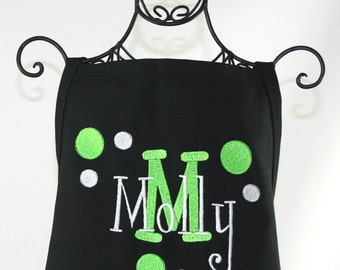 Girls Polka Dot Black & Lime Apron Personalized with Name, Polka Dots, Ribbon and Pockets - Embroidered