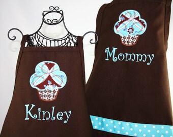 Matching Mother & Daughter Personalized Sweet Aqua Cupcake Apron Set