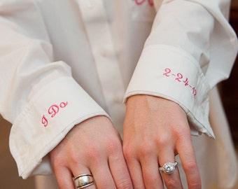 Monogrammed Oversized Shirt for Bride with I Do & Wedding Date on Cuffs, Bridal Party Shirts, Get Ready Shirts, Shirt for the Bride