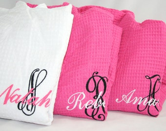 Monogrammed Bridesmaid Robe with Name & Initial, Bridesmaid Robes, Hot Pink Robes, c
