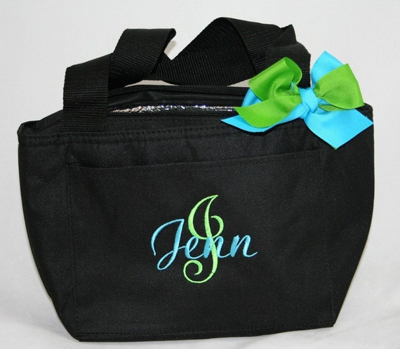 Black Personalized Monogrammed Cooler Lunch Tote