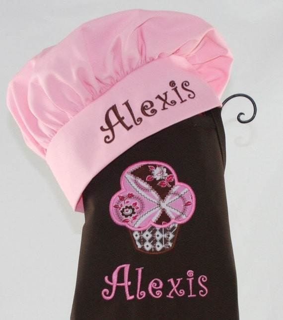 Child's Personalized Brown Sweet Pink Cupcake Apron with Hat Set