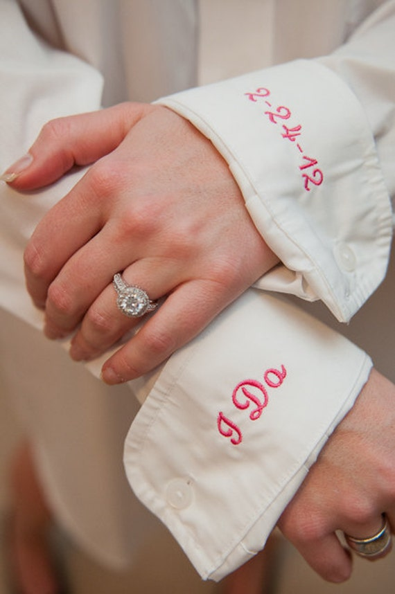 Monogrammed Oversized Shirt for Bride with I Do & Wedding Date on Cuffs
