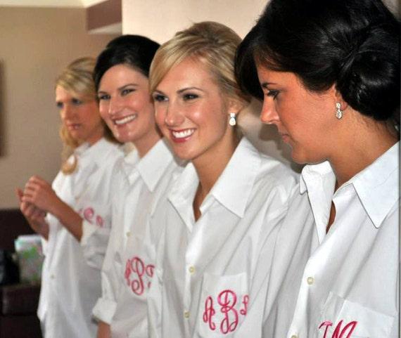Monogram Boyfriend Shirt, Oversized Bridesmaids Shirt Monogrammed Shirts Button Down