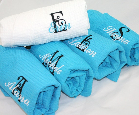 Monogrammed Bridesmaid Turquoise Robes, Bridesmaid Robes, Bridesmaid Gifts, Turquoise Robes, c