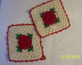 Handmade Trivets with Rose in Center