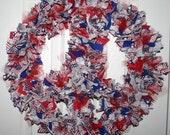 Patriotic Peace Sign Fabric Wreath