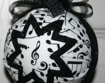 Music Notes Fabric Quited Ornament