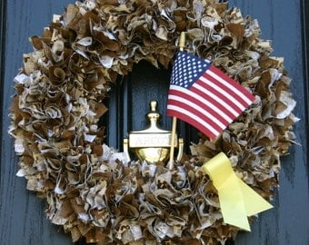 Support Our Troops Camo fabric Wreath