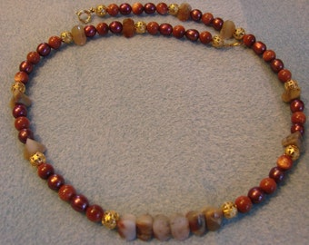 Cranberry pearl and turtle Jasper necklace