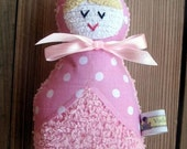 Anna the Plush Pink Vintage Chenille Babushka doll