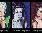 Fantasy Art ACEO Prints Butterfly Moth Dragonfly Goddesses Portraits Fairies Artist Trading Cards ATC - Individually or Set