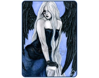 Gothic Blue Angel Limited Edition ACEO Print Artist Trading Cards ATC Black Wings Corset Fantasy Art portrait