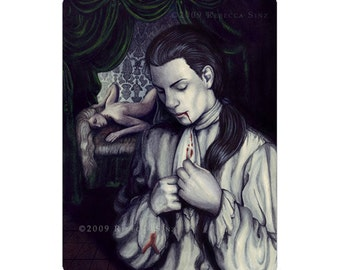 Another Ruined Cravat ACEO print Artist Trading Cards ATC Fantasy Art Georgian Male Vampire Gothic Blood Horror