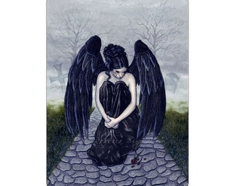 To Bid You Farewell ACEO Print Gothic Angel Sad Rose Fog Mourning Black Wings Artist Trading Cards ATC Fantasy Art